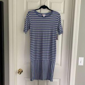 LuLaRoe Julia dress blue & ivory stripe